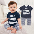 Kids clothing suits 2016 Summer Style Infant Clothes Baby Clothing Sets Three small fish model Cotton Short Sleeve 2pcs Clothes