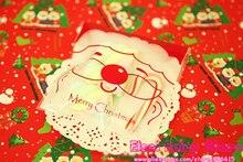 300pcs Smile Santa Claus Self-adhesive Gift Food Packing Bag Christmas Cellophane Bag Cute Biscuit Plastic Party Favor Bag(Hong Kong)