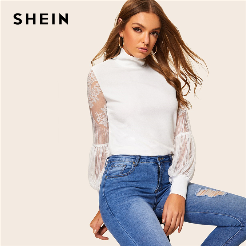 SHEIN White High Neck Lace Balloon Sleeve Top Mesh Blouse Women Spring Office Lady Elegant 2019 Solid Ladies Workwear Blouses