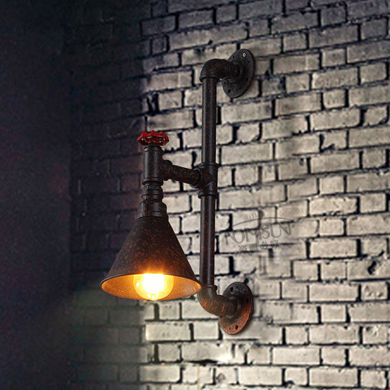 pipe vintage wall lamp industrial loft bedside warehouse lamps wall sconce lights lamparas de pared for cafe club bar shop black wall lights bedside lamp high quality sconces lamp indoor lighting wall lamps industrial sconce modern de la pared lampada