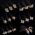 Vintage Flower Leaf Hair Pin Vintage Bridal Headpiece Gold Wedding Hair Pins Jewelry Women Accessories Rhinestone Hairwear