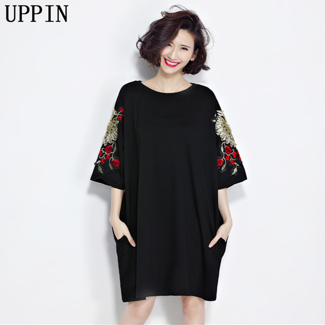 Uppin Women Dress Cotton Plus Size T Shirt Dress Summer Style