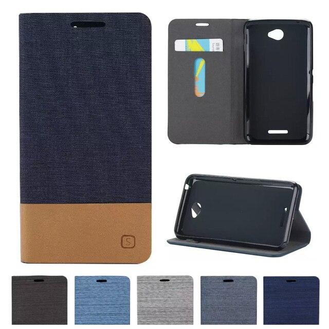 Denim Flip Case For Sony Xperia E4 Dual E2115 E2105 Flip Phone Leather Cover For Sony E 4 Dual E2114 E2124 E2104