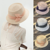 Summer Girl Women Wide Brim Beach Sun Hat Elegant Straw Bowknot Boho Cap