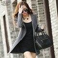 2015 Nueva Moda Para Mujer Chaquetas Y Abrigos de Invierno de Las Mujeres de Cachemira abrigo de lana larga delgada ocasional clothing zipper jacket tops 85e 20