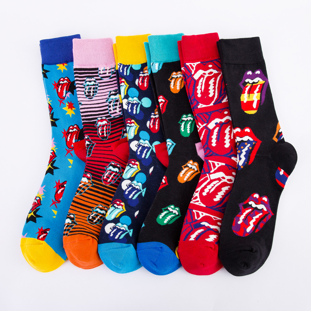 Casual Colorful Men's Crew Party Socks Crazy Cotton Happy Funny Skateboard Socks Novelty Male Dress Wedding Socks For Gifts