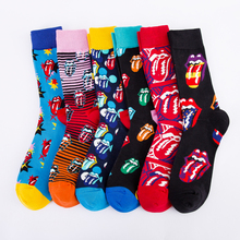 Casual Colorful Men's Crew Party Socks Crazy Cotton Happy Funny Skateboard Socks