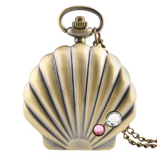 YISUYA Vintage Bronze Quartz Pocket Watch Crystal Shells Design Girl Necklace Pendant for Women