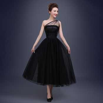 Best Selling Black Prom Dresses One Shoulder Pleats Polka Dot Tulle Tea Length Party Evening Gowns Short Vestido De Festa - DISCOUNT ITEM  30% OFF All Category