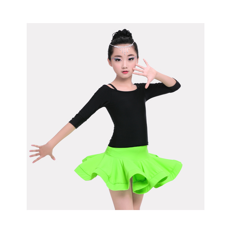 Children Girls Spandex Strapless 3/4 Sleeve Latin Dance Dress Kids Salsa/Tango Dance Costumes Tops & Skirt Set