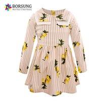 3-7Years Girls Autumn Striped Dress Long Sleeve 2017 New Children Lemon Printing Princess Dresses For Toddler Girls Kids Clothes