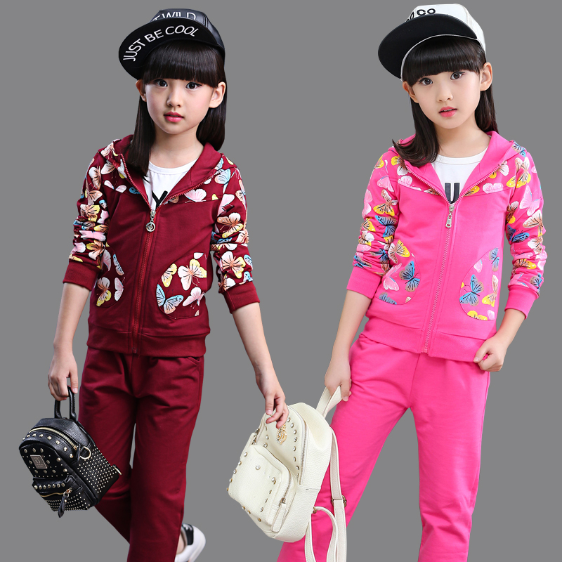 2017 Spring Fall Children's Clothing Set Girls Fashion Floral Printing Sportswear Kids Sport Suit Casual Outfit Tracksuit A004