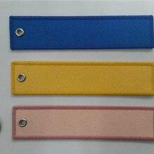Пустой цвет на заказ полиэстер Ткань Вышивка брелок с Мерроу края для подарков, спортивных
