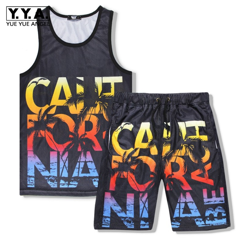 New Fashion Men Summer Breathable Sleeveless Vest Tops Elastic Shorts 2pcs Set Beach Wear Jogging Tracksuit Letters Printed Sets