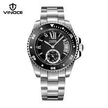 Vinoce Buceo hombres reloj de cuarzo calendario luminoso impermeable multifunción deportes al aire libre relojes de marca de lujo de acero v6338633
