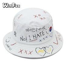 Winfox New Korea Fashion Summer Hip Hop Black White Graffiti Gorro Pescador Caps Boonie Bucket Hats For Womens Mens