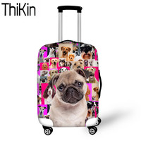 THIKIN Travel Accessories Pug Dog Printing Luggage Covers for 18 30 Inch Dustproof Suitcase Protective Travel Trolley Case Cover