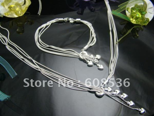 fashion jewelry, Silver plated Necklace & bracelet, FIVE HEART  S70