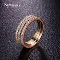 NEWBARK Vintage Forma Redonda 3 Voltas Anel Conjunto de Anéis de Moda Para mulheres Rose Banhado A Ouro Amor Minúsculo Pavimentada Cubic Zircon Pedra Jóias