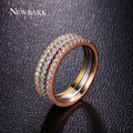 NEWBARK Vintage Round Shape 3 Laps Ring Set Fashion Rings For Women Rose Gold Plated Love Tiny Paved Cubic Zircon Stone Jewelry