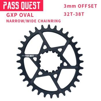 PASS QUEST GXP MTB Oval Crankset Narrow Wide chain wheel Bike Bicycle Chainwheel 6mm Offset 32-38T