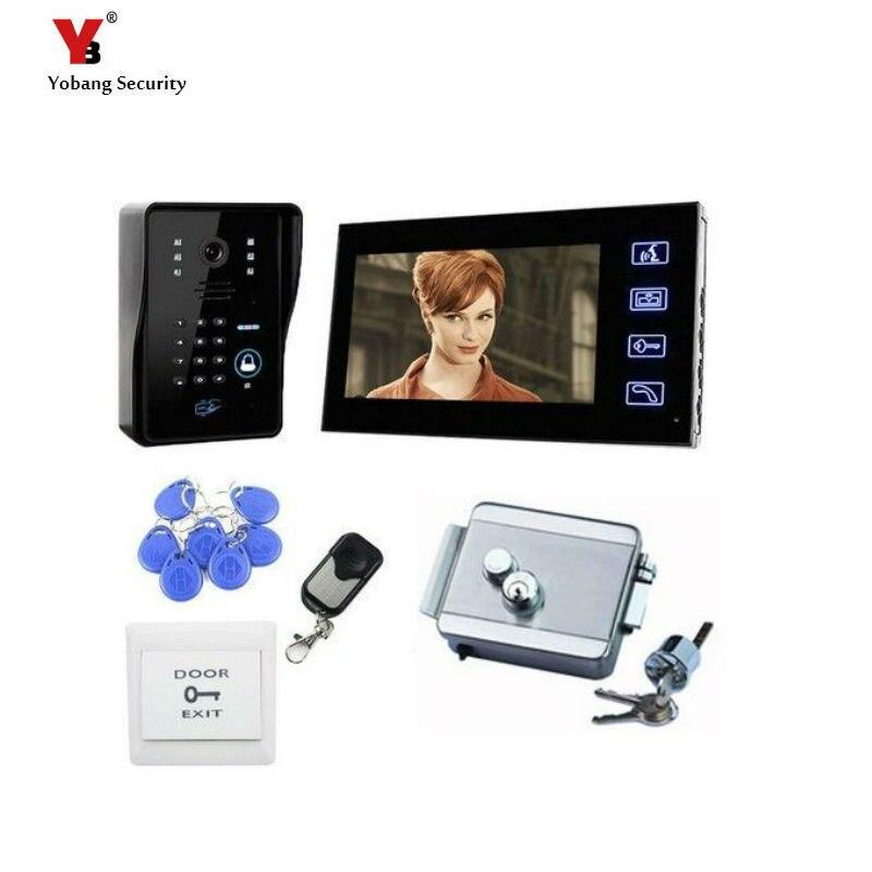 Yobang Security freeship 7 Video Door Phone Intercome Doorbell ID Cards/Remote Controller Unlock Night Vision Video Door bell