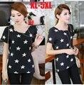 2015new Moda Camiseta de Manga Corta camiseta de Algodón de verano Las Mujeres Estrella Impreso Tops Más El Tamaño XXXXXL Camiseta Blusas Femininas 1677