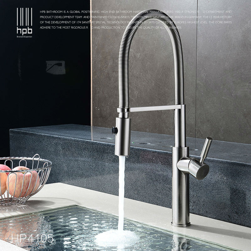HPB Brass Brushed Nickel Pull Out Rotary Kitchen Faucet Mixer Tap for Sinks Single Handle Deck Mounted Hot And Cold Water HP4105 постельное белье gg peter