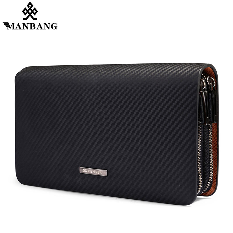 Manbang Men Wallet Fashion Genuine Leather Bag Handbags Double Zipper Men Clutch Bags Brand Hand Bag Luxury Business Long wallet