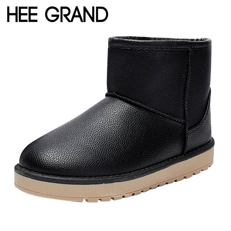 HEE GRAND Waterproof Women Snow Boots 2017 Warm Fur Platform Winter Pu Boots Casual Slip On Flats Shoes Woman XWX6465 hee grand bling winter snow boots waterproof silver shoes woman platform women ankle boots slip on flats casual creepers xwx5503