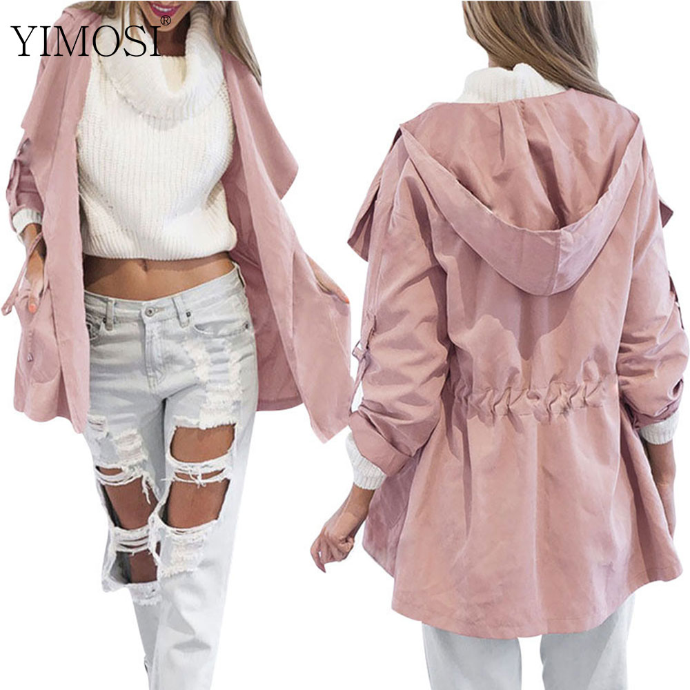 Hooded Coat Jacket Outwear Kimono Long-Sleeve Elastic-Waist Loose Female Autumn Casual
