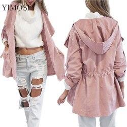 Novo 2020 mulheres jack casaco outono manga longa com capuz casaco jaqueta casual cintura elástica bolso quimono feminino solto outwear