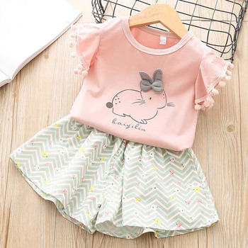 Rabbit and Star Print Sets - T-shirt + Shorts 2-6 Years Girls