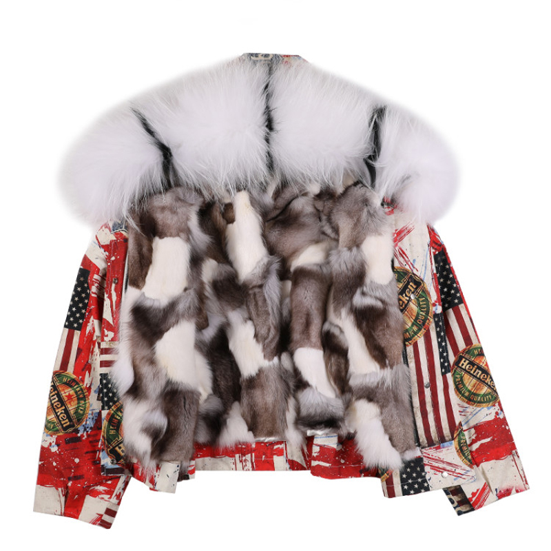 Women s winter new real fox fur liner parka coat short jacket hooded with raccon dog
