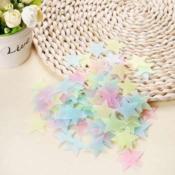 100pcs Luminous Wall Stickers Glow In The Dark Stars Sticker Decals for Kids Baby rooms Colorful Fluorescent Stickers Home decor - Color mixing