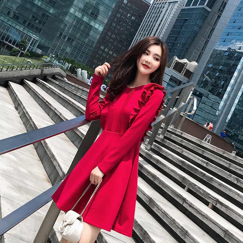 25eac0b7d 2019 الخريف الكورية نمط المرأة جميلة الكشكشة طويلة الأكمام حزب اللباس عيد  الميلاد العام الجديد هدية