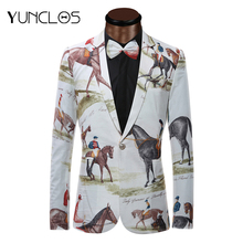 YUNCLOS брендовый мужской блейзер для верховой езды с 3D принтом, приталенный пиджак, повседневная одежда для сцены, модные мужские блейзеры с галстуком-бабочкой размера плюс