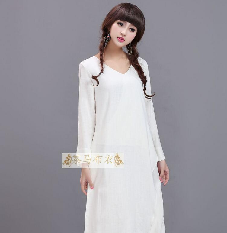 White folk dress Yunnan style cotton double fake two long sleeved color