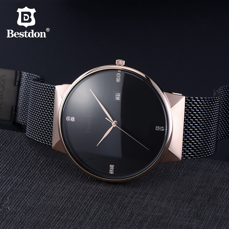 Bestdon Minimalist Watches Men Luxury Brand Famous Designer Geek Style Switzerland Rose Gold Stainless Steel Quartz Couple Watch