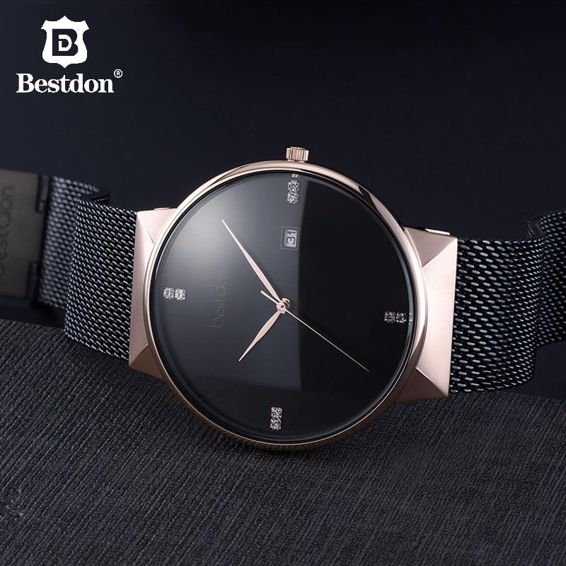 Bestdon Minimalist Watches Men Luxury Brand Famous Designer Geek Style Switzerland Rose Gold Stainless Steel Quartz Couple Watch
