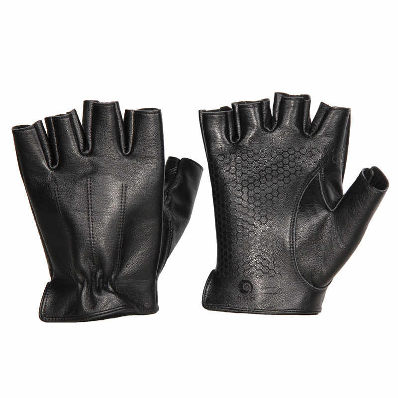 Gants de conduite sans doigts pour hommes 100% cuir de vachette véritable noir Fitness sport anti-dérapant gants de moto Handschoenen