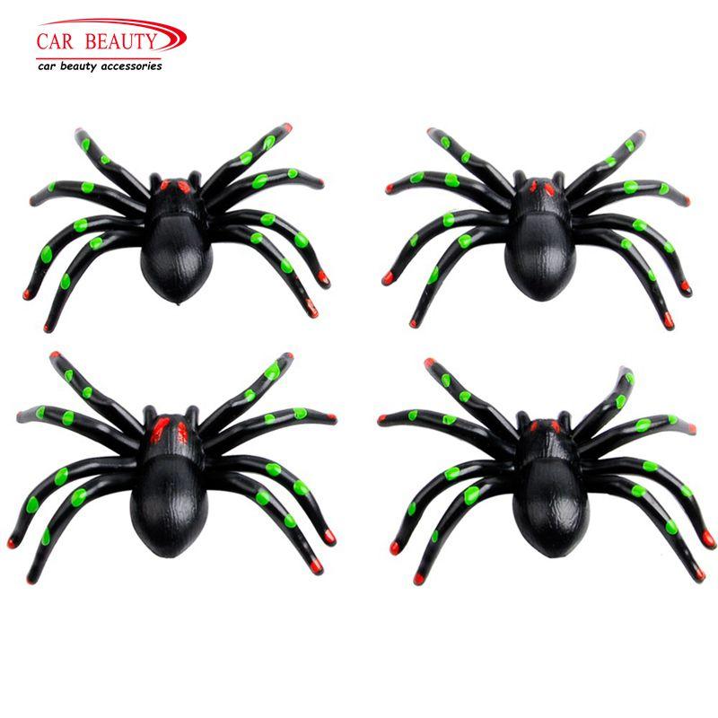 Colors Spider Black Motorcycle Bike Valve Stem Caps