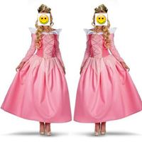 VASHEJIANG Pink Adult Sleeping Beauty Costume Female Fairy Tale Princess Cosplay Women Aurora Bellet Costume For