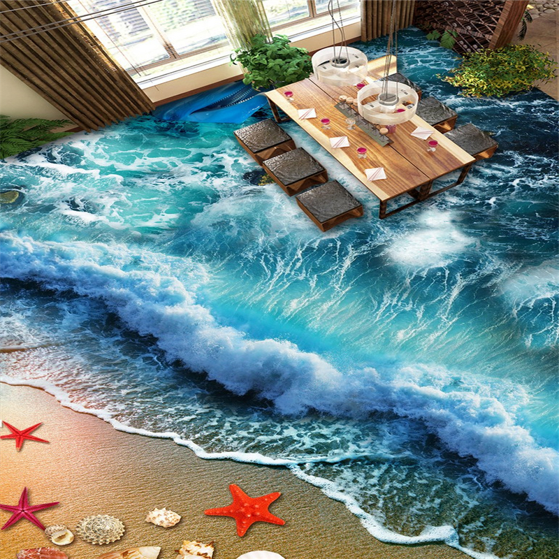 beibehang beach waves Custom 3D Floor Mural Wall paper for Living Room Bathroom Floor Murale PVC Self adhesive photo Wallpaper beibehang mural wallpaper 3d stereoscopic creative wall paper for living room bedroom bathroom floor pvc self adhesive sticker