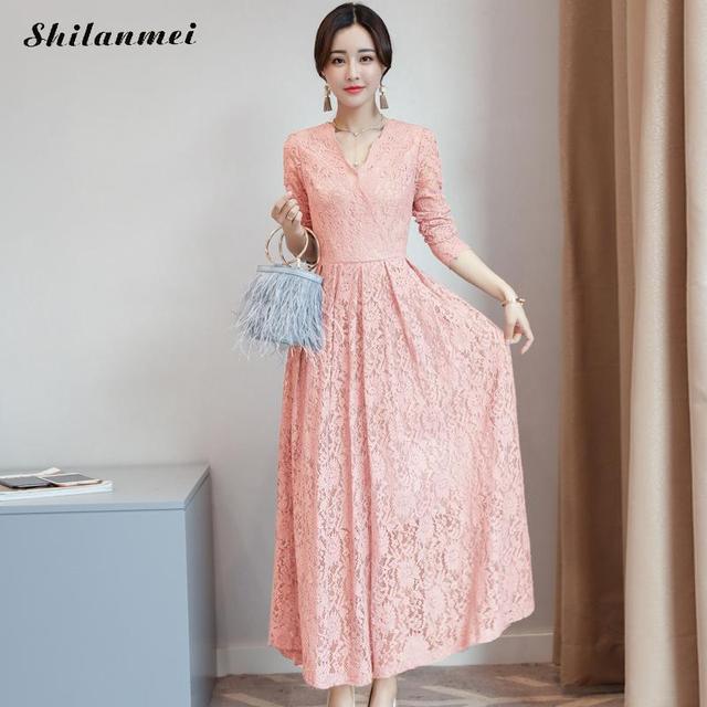 599442b5f04 Для женщин Длинные рукава розовый черный синий белое кружевное осеннее  платье элегантные длинные платья 2017 модные