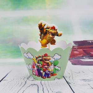 Image 5 - 12set Tema de Súper Mario Decoración de Pastel de fiesta Baby Cupcake para la ducha envoltorios eventos de feliz cumpleaños adornos para la parte superior de una tarta de fiesta