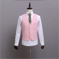 Formal Mens Dress Waistcoat Handsome Pink Suit Vest Fashion Wedding Men Slim Fit Suit Vest Bridegroom