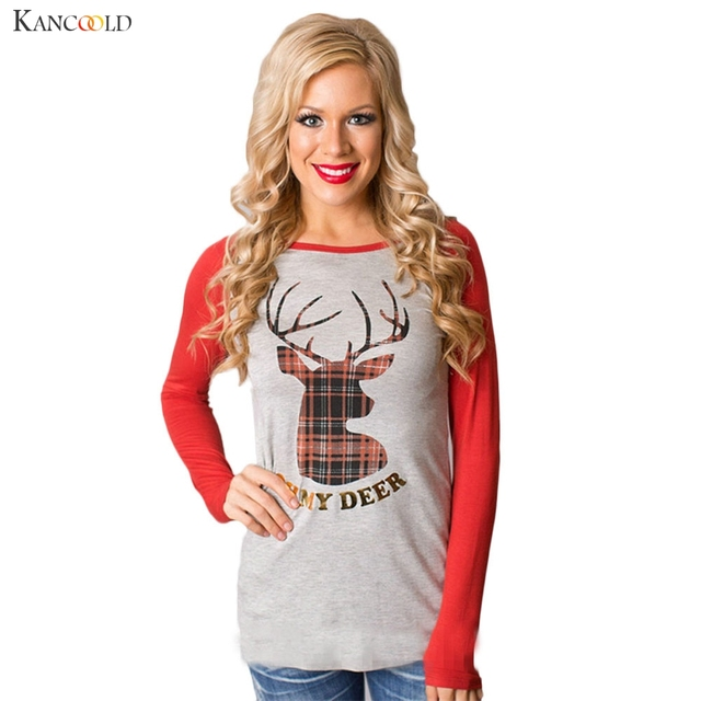 Christmas Autumn Women Fashion Round Collar Long Sleeve Cotton T-Shirt Casual Exercise Deer Print Tops Bottoming Shirt Tee Aug10