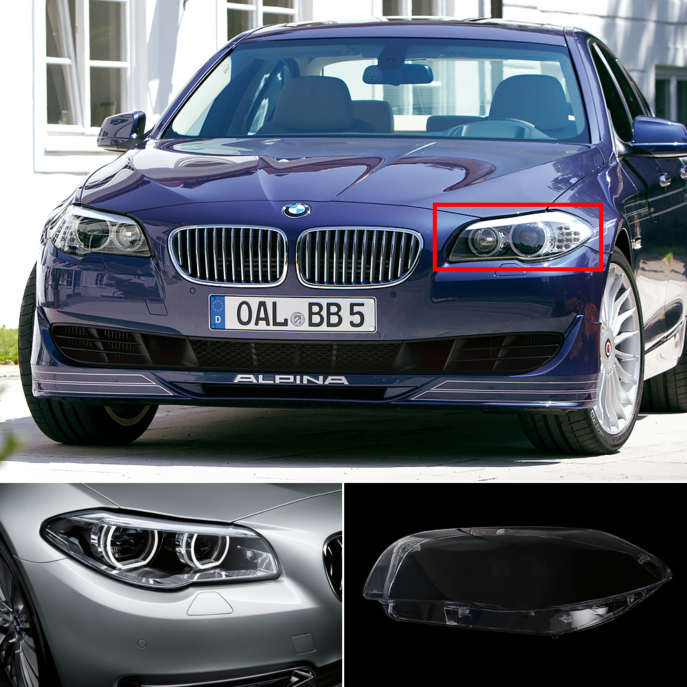 Isincer car headlight cover case for bmw 5 serie headlight lens shell lamp assembly for bmw