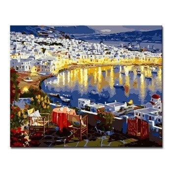 Diy Pintura Al óleo Por Números Kits Para Colorear Pintado A Mano Europeo Ciudad De Mar Edificio Vista Nocturna Imágenes En Lienzo Decoración Del